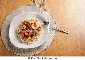 Shrimp with Pasta Dish - A delicious shrimp scampi pasta...