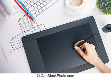 Female using graphic tablet