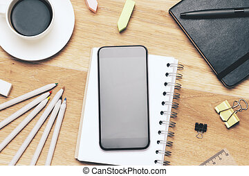 Blank black smartphone - Blank smartphone on wooden table...