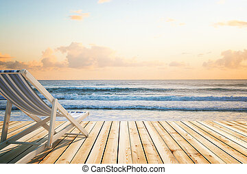 Chaise longue wooden floor seaside - Chaise longue on wooden...