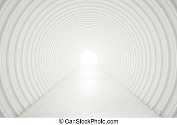 Abstract white tunnel with light at the end 3D Rendering