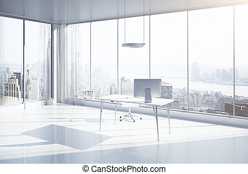 Office with NY view side - Sideview of white office interior...