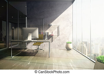 Sunlit office front - Frontview of sunlit office with...