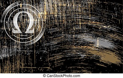 Vector abstract scratched background and omega symbol