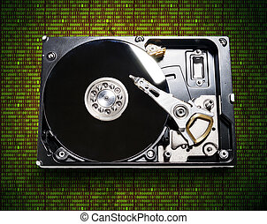 the hard drive from the computer in the background of the...