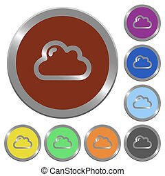 Color cloud buttons - Set of color glossy coin-like cloud...