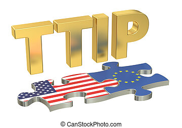Transatlantic Trade and Investment Partnership TTIP concept,...