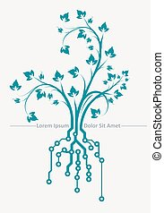 Conceptual design with floral branch and root in PCB-layout...