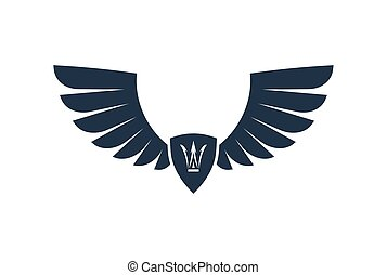 Pair of stylish decorative vector wings with shield and...