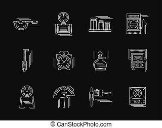 Gauging tools white flat line vector icons - Tools,...