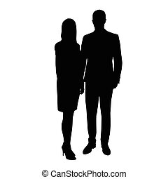 Man and woman in formal wear standing side by side. Vector...