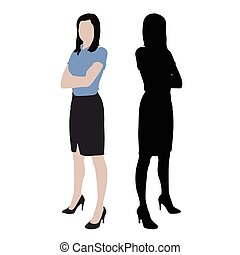 Business women, isolated vector silhouette and illustration. Standing woman standing with folded arms, dark skirt, high heels