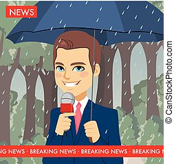 Raining Weather News Reporter - Handsome young news reporter...