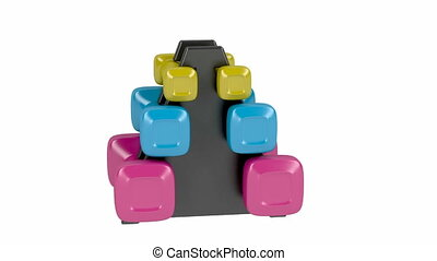 Rack with plastic dumbbells with different sizes and colors