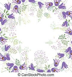 Square frame with contour bluebells and herbs on white