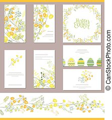 Floral templates with cute bunches of yellow mimosa