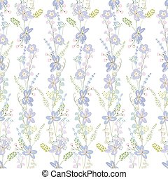 Floral seamless pattern made of blue flowers
