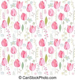Floral seamless pattern with pink tulips and spring flowers