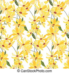 Floral seamless pattern made of yellow daisy flowers