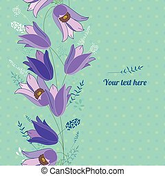 Floral spring template with cute bunches of bluebells. -...