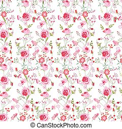Floral seamless pattern made of pink roses and stylized...