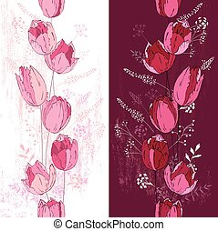 Floral spring template with elegant tulips White and dark...
