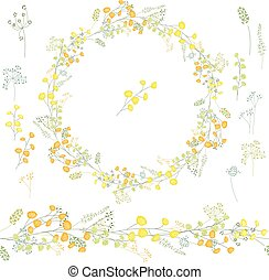 Floral round garland and endless pattern brush made of...