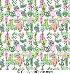 Seamless pattern with spring forest