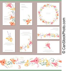 Floral spring templates with cute bunches of fancy orange...