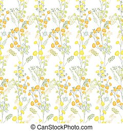 Floral seamless pattern made of yellow mimosa