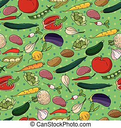 Seamless pattern with different fresh vegetables
