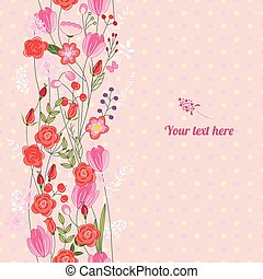 Floral spring template with cute bunches of wild roses