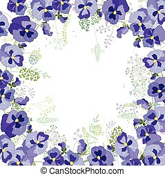 Square frame with contour viola and herbs on white - Square...