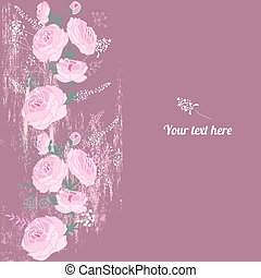 Floral spring template with cute pink roses