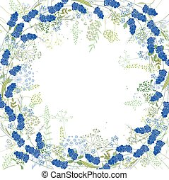 Square frame with contour muscari and herbs on white -...