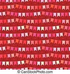 Festive seamless pattern with hanging flags cut from paper