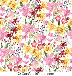 Floral seamless pattern with tulips and daffodils - Floral...