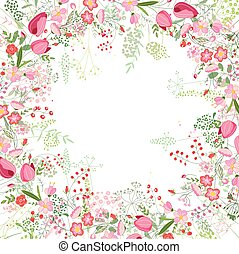 Square frame with contour tulips,roses and herbs on white -...