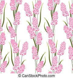 Seamless pattern with stylized cute pink muscari - Seamless...