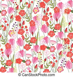 Floral seamless pattern with red tulips and roses - Floral...
