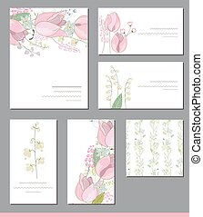 Floral templates with cute bunches of pink tulips and wild flowers