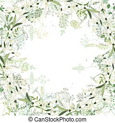 Square frame with contour galanthus and herbs on white -...