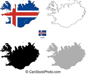 Iceland country black silhouette and with flag on background