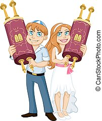 Jewish Boy And Girl Hold Torah For Bar Bat Mitzvah - Vector...