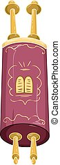 Jewish Golden Closed Torah Holy Bible - Vector illustration...