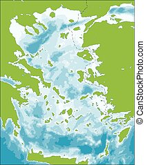 Aegean Sea map - The Aegean Sea is an elongated embayment of...