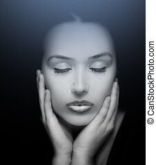 Beauty Portrait. Face of Beautiful Woman with Eyes Closed