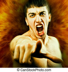 Angry Man Screaming and Pointing Finger