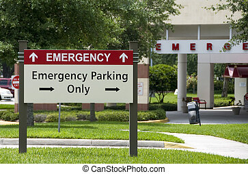 Emergency entrance - Hospital emergency entrance sign giving...