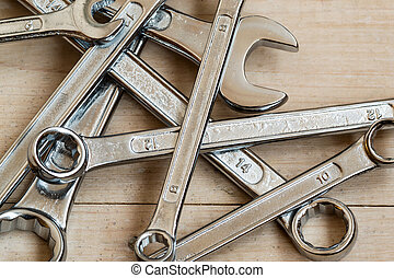 Pile of DIY Silver Metal Spanners - DIY Set of chrome metal...